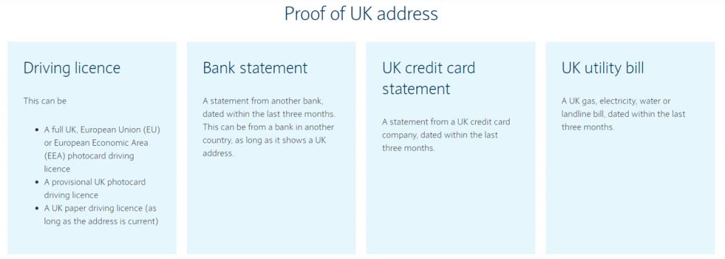 英國銀行開戶地址證明 Barclays